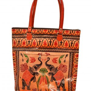 ZINT India Shantiniketan Handmade Genuine Leather Pair of Elephant Design Shopping Bag