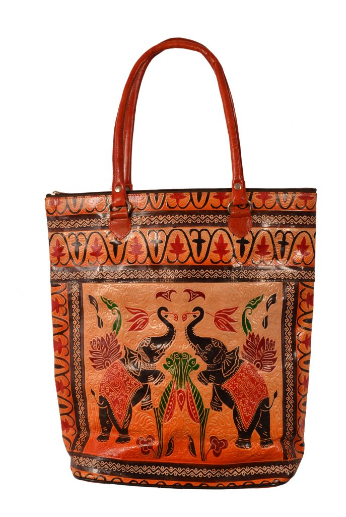 ZINT India Shantiniketan Genuine Leather Pair of Elephant Design Shopping Bag