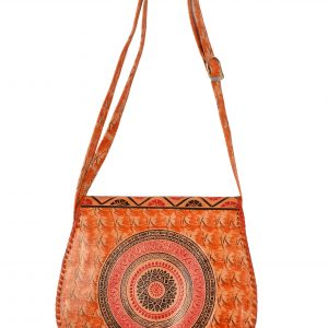 ZINT India Shantiniketan Genuine Leather Batik Design Crossbody Bag