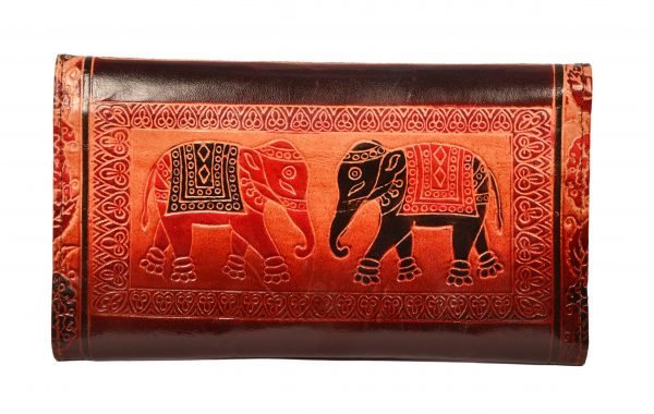 ZINT India Shantiniketan Genuine Leather Pair of Elephant Design Clutch
