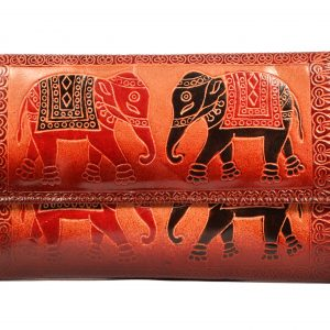 ZINT India Shantiniketan Genuine Leather Pair of Elephant Design Clutch