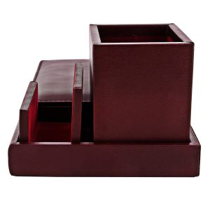 ZINT Genuine Leather Removable Pen Stand/Desk Organisor