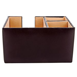 ZINT Genuine Leather 3 Compartment Pen Stand/ Desk Organisor