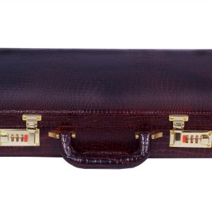 Zint Genuine Leather Vintage Style Hard Briefcase with Combination Locks BrownBriefcase Crocodile Print