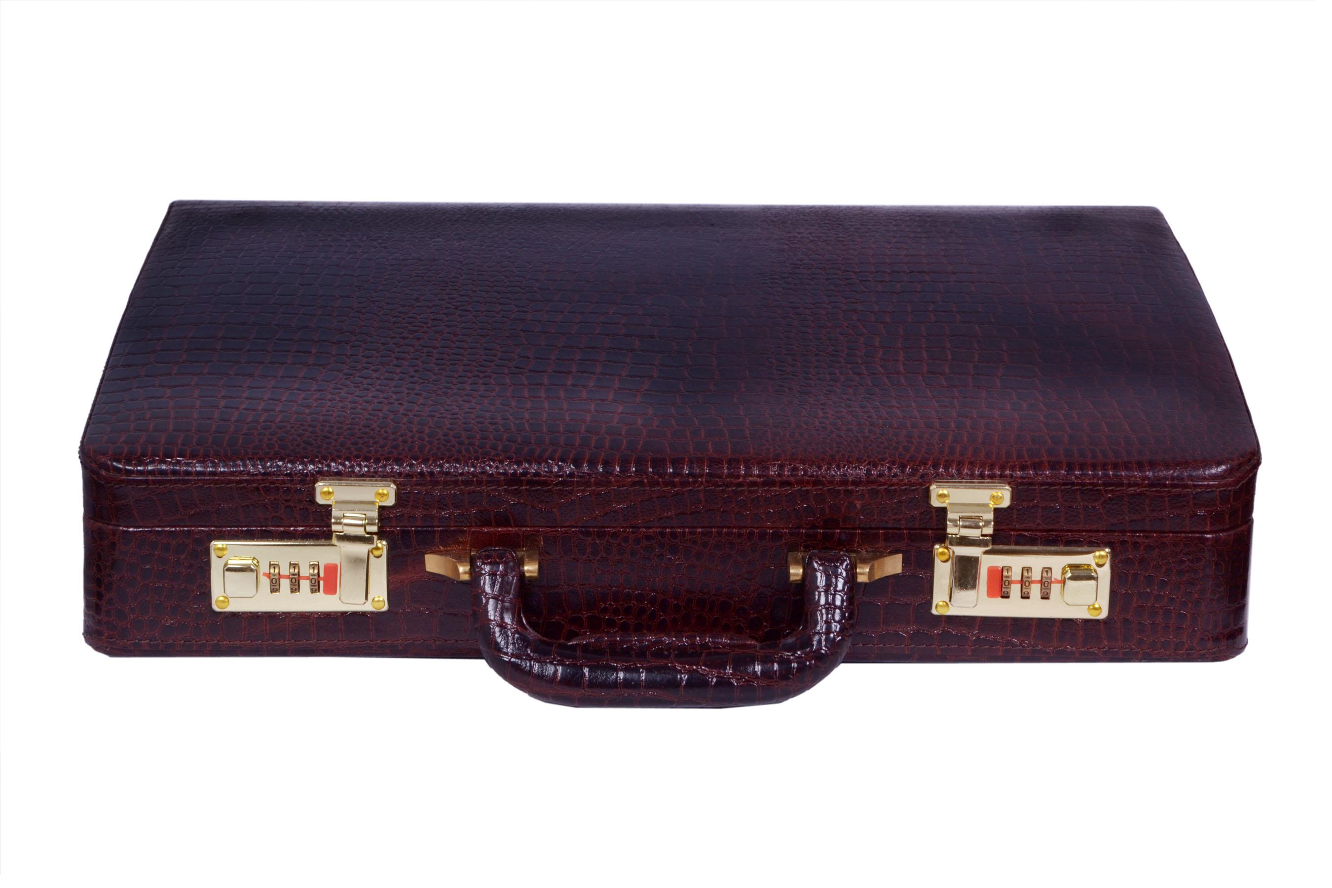 416645e97 Zint Genuine Leather Vintage Style Hard Briefcase with Combination Locks  BrownBriefcase Crocodile Print