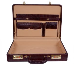 Zint Genuine Leather Vintage Style Hard Briefcase with Combination Locks Brown