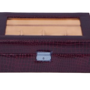 Zint Genuine Leather 8 Slot Crocodile Print Brown Watch case / Bracelet Storage Organizer