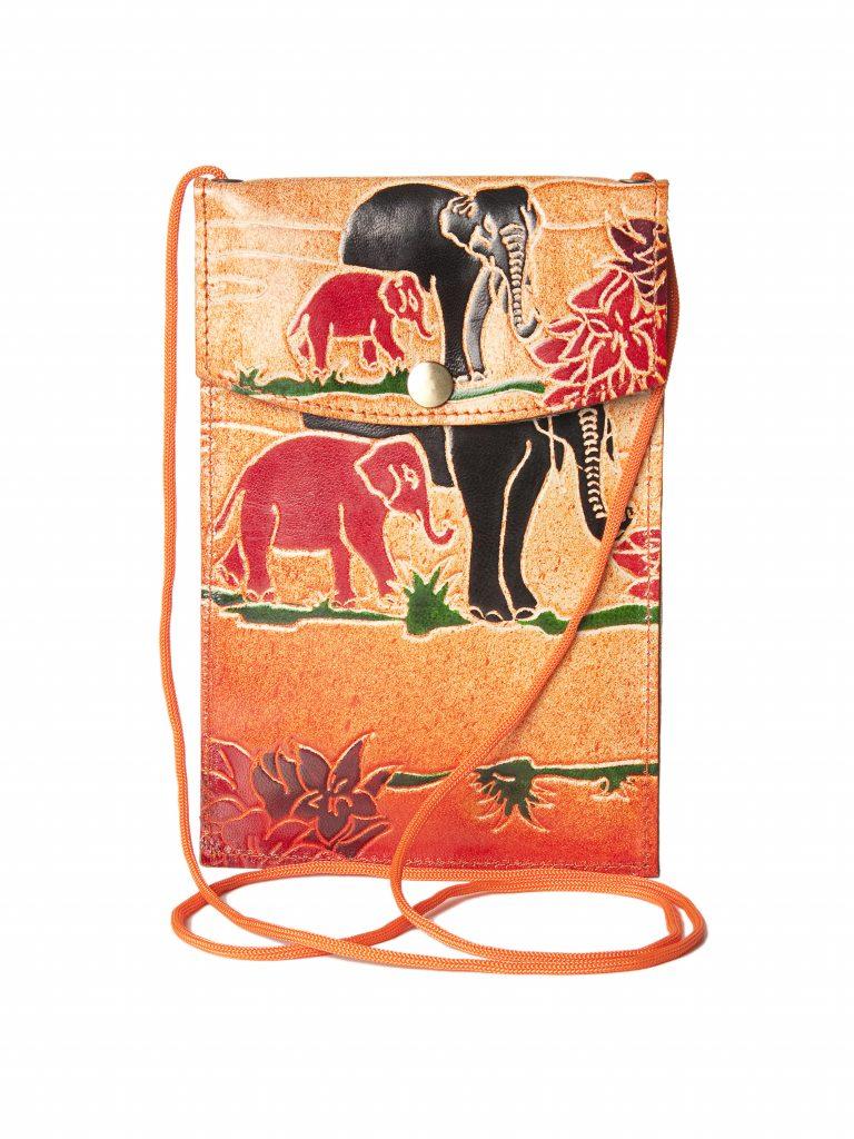 Genuine Leather India Shantiniketan Leather Bag Elephant Design