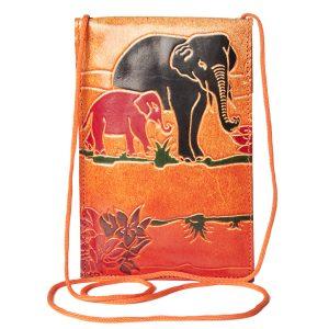 India Handicraft Shantiniketan Leather Bag Elephant Design
